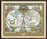 Joy Sunday 14CT Kits de Punto de Cruz Contado Patrón de Punto de Cruz Mapa Del Viejo Mund...