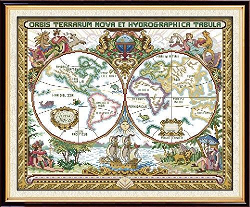 Joy Sunday 14CT Kits de Punto de Cruz Contado Patrón de Punto de Cruz Mapa Del Viejo Mundo Con Tela Blanca Kit De Costura A Mano de Tela Dmc Diy