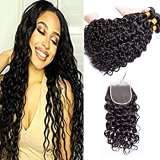 100% Virgin Human Hair Extensions 10A Unprocessed Brazilian Virgin Hair Bundles with Closure Water Wave 3 Bundles Wet and Wavy with 4×4 Free Part Lace Closure Natural Color (14 16 18 with 12)