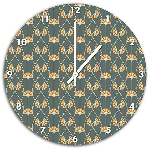 Asie fleurs modèle, horloge murale diamètre 48 cm avec aiguilles et cadran pointus blancs, article décoratif, horloge design, composite alu très belle pour le séjour, la chambre d'enfant, le bureau