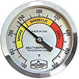 Midwest Hearth BBQ Smoker Thermometer for Barbecue Grill, Pit, Barrel 3' Dial (4' Stem Length, Color Dial)
