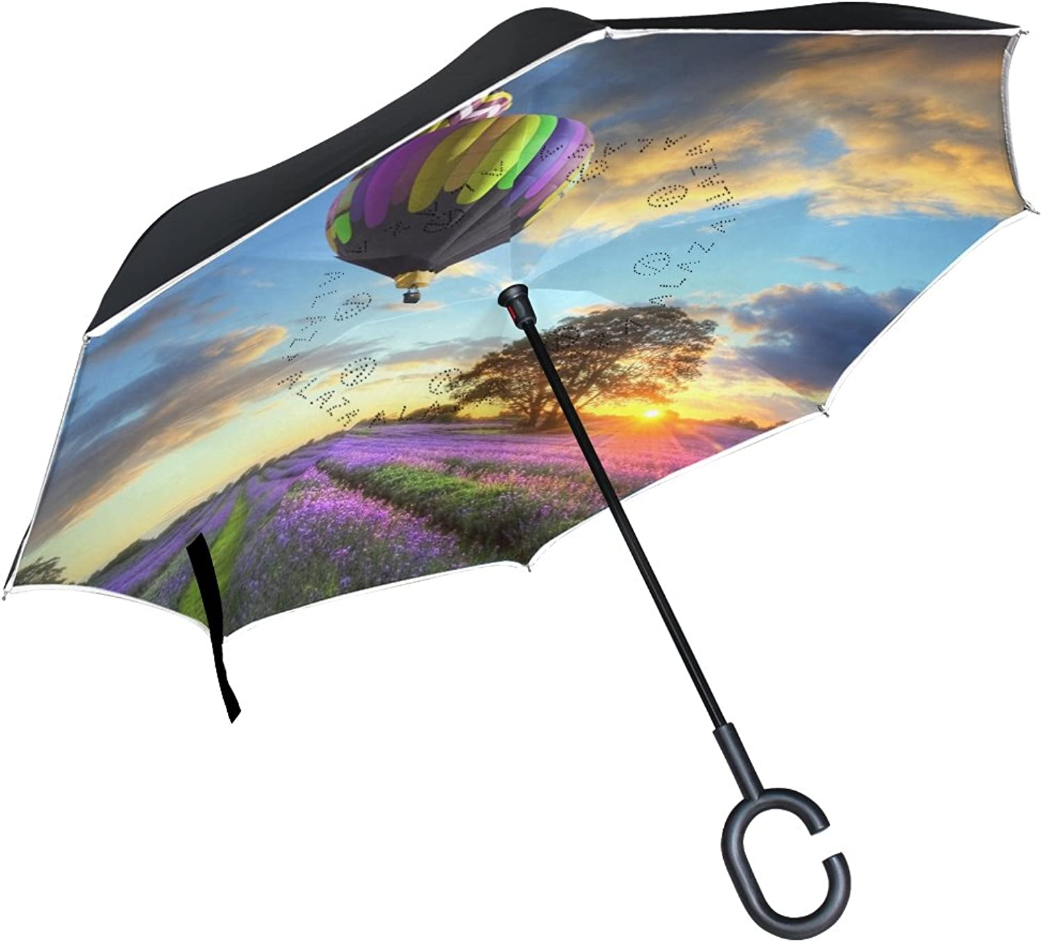 Imobaby Jennifer Hot Air Ballons Flying Over Lavender Fields Straight Selfstanding Reserve Umbrella Double Layer Ingreened Folding Umbrella Waterproof Umbrellas for Car
