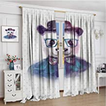 Paddy Benedict Modern Blackout Curtain W72 x L72 Inch,Room Darkening Drapes,Funny,Vintage Hipster Panda with Bow Tie Dickie Hat Horn Rimmed Glasses Watercolor Style,Black Blue