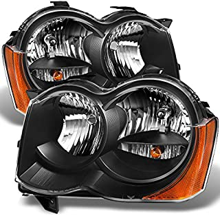 For Jeep Grand Cherokee Halogen Type Black Headlights Driver Left + Passenger Right Side Replacement Set