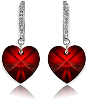 Sterling Silver Heart Dangle Earrings Created with Swarovski Crystals