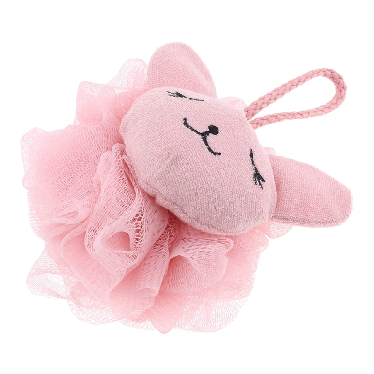 お金ゴム割り当てます家族Fenteer ボディ用お風呂ボール ボディスポンジ 漫画 動物 シャワー用 ソフト 快適 全2色 - ピンク