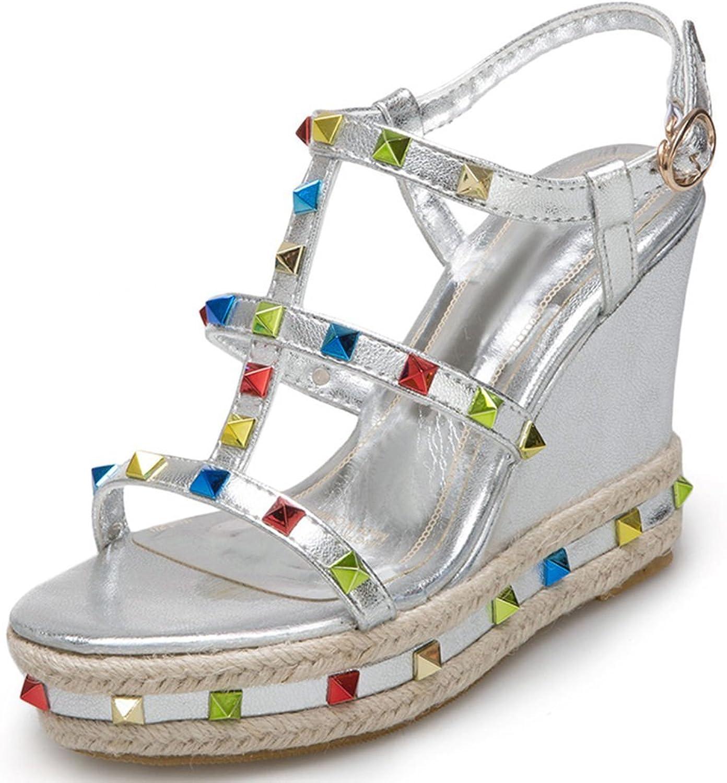 SaraIris Women's Open Toe Wedges High Heel Platform Summer shoes Gladiator Daily Sandals