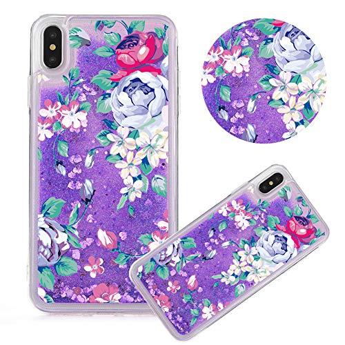 Lila Glitzer Hülle für iPhone 6S Plus,Flüssigkeit Silikon HandyHülle für iPhone 6 Plus,Moiky Luxuriös Mode Elegant Blume Muster Liebe Herzen Treibsand Pailletten Diamant Flexible Weich Gummi Hülle