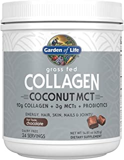 Garden of Life Grass Fed Collagen Coconut MCT Powder - Chocolate, 24 Servings, Collagen Peptides Powder for Energy Hair Sk...
