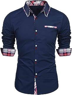 Sykooria Camisa para Hombre Slim Fit Easy Iron 100% Algodón Camisa Casual de Manga Larga Camisa de Vestir con Botones y Cu...