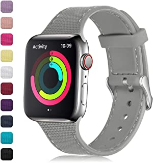 GEAK Stylish Band Compatible with Apple Watch 38mm/40mm 42mm/44mm for Women Men,Soft Silicone Replacement Wristband with Stainless Steel Buckle for iWatch Series 1/2/3/4
