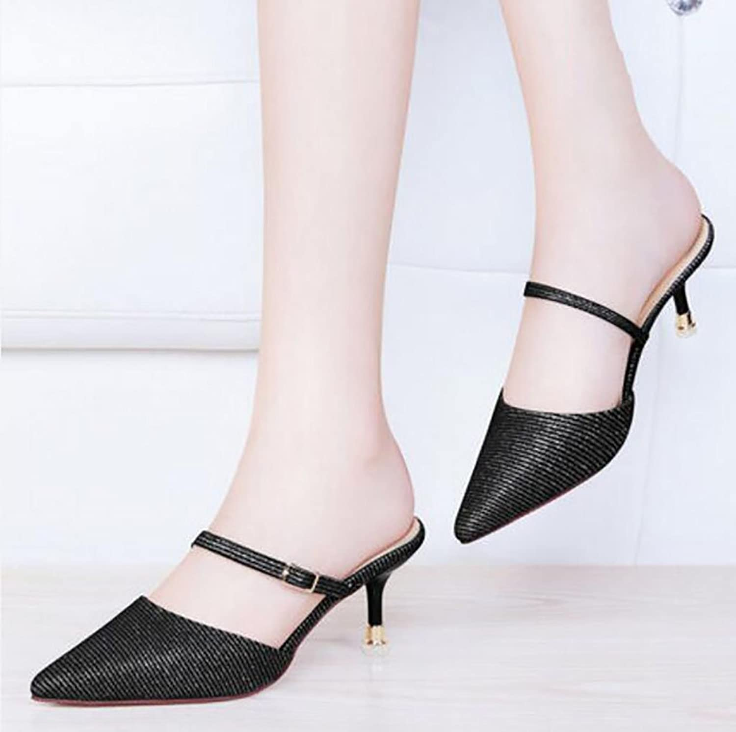 Baotou Half Slippers Female Summer fine Sandals wear Stylish Lazy shoes high Heel Sandals and Slippers Flat Sandals,Fashion Sandals (color   A, Size   35)