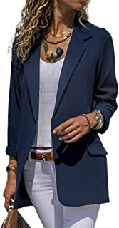 Rajendram Women Open Front Long Sleeve Work Office Blazer Jacket Cardigan Casual Solid Color Suit
