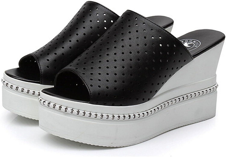 San hojas Genuine Leather Wedge Heel Thick Heel Sandals Platform shoes Black
