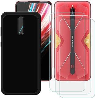 TTJ Svart skal för ZTE Nubia Red Magic 5G [3 st] HD pansarglas, mobiltelefonfodral silikon skyddande fodral TPU fodral mob...