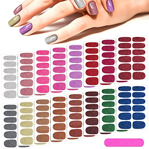 16 Sheets Glitter Nail Wraps Nail Polish Stickers Self-Adhesive Nail Art Decals Strips in Solid Colors with 2 Pieces Nail File for Women Girls Manicure DIY Nail Art Decoration (Retro Color)