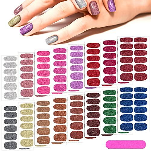 16 Sheets Glitter Nail Wraps Nail Polish Stickers Self-Adhesive Nail...