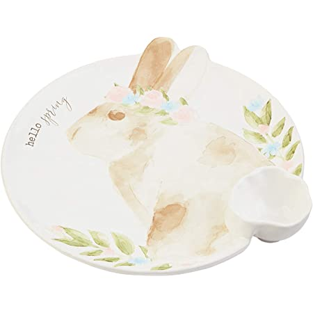 White Mud Pie Ceramic Easter Bunny Chip and Dip Set