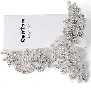 Crystal Applique Rhinestone Applique Wedding Applique Beaded Crystal Patch DIY Wedding sash Headband Headpiece