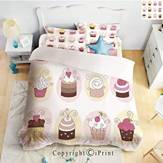 Homenon Bedding 4 Piece Sheet,Cupcakes Bakery Pastry Design Confectioners Decorations Cake Retro Style Decor Decorative,Pastel Pink Cream,Full Size,Suitable for Families,Hotels