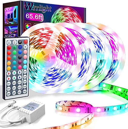 65.6FT/20M LED Strip Lights, Wrrlight RGB LED Light Strip 600 LEDs 5050 SMD Color Changing LED Strip Lights Flexible Tape Light Kit with 44 Keys IR Remote Controller for Kitchen Home Party(4x16.4FT)…