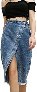 Howely Women Split Raw Hem with Pockets Denim Fringe Asymmetrical Skirt
