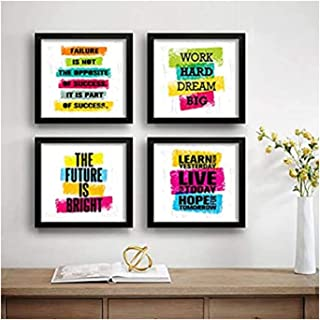 SAF Set of 4 Work Hard Dream Big Motivational UV Coated Home Decorative Gift Item Framed Painting 19 inch X 19 inch SAF_SE...
