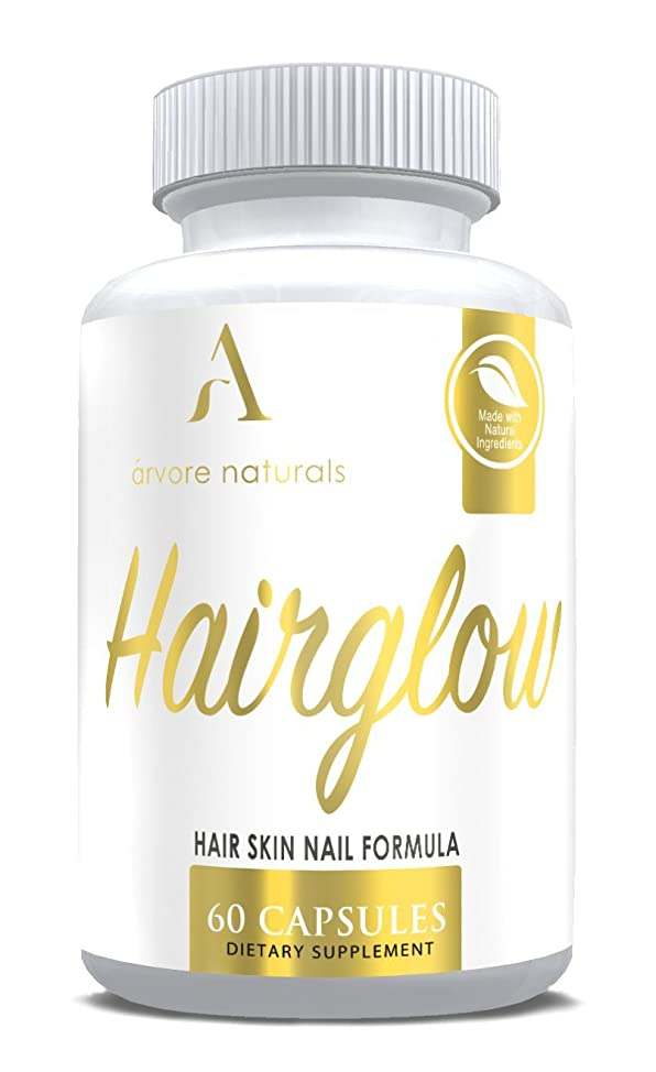 HairGlow - Natural Ingredients Hair Growth Vitamin for Longer, Stronger, Healthier Hair - Nail Strength, Skin Health - Formulated with Biotin, B Vitamins, Spirulina and More! 60 Veggie Capsules