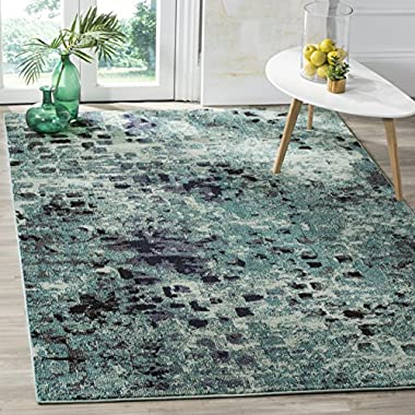 Safavieh Monaco Collection MNC225J Modern Abstract Watercolor Light Blue and Multi Distressed Area Rug (6'7  x 9'2 )