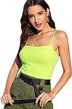 Romwe Women's Neon Lime Spaghetti Strap Sleeveless Slim Sexy Crop Cami Top Blouse