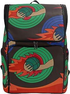 DEZIRO - Mochila de viaje con diseño de baloncesto en el fuego, bolsa grande, multifuncional para mujeres y hombres, 19 x 14 x 7 pulgadas