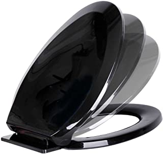 Black Plastic Toilet Seat Elongated Easy Close Comfortable Ergonomic Design Slow Closing Lid