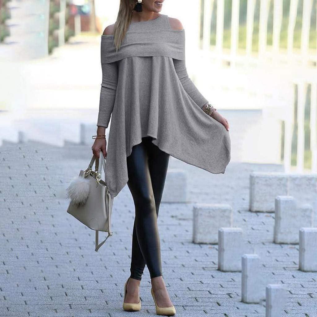LEKODE Women Tops Solid Irregular Fashion Casual Daily T-Shirt
