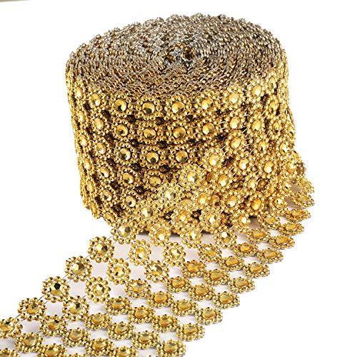 JSSHI 6 Row,4' x10 Yard,Silver Flower Diamond Rhinestone Crystal Mesh Ribbon Wrap Roll for Wedding Decorations, Wedding Cake, Birthdays, Party Supplies, Arts & Crafts(Flower Pattern 10 Yards) (Golden)