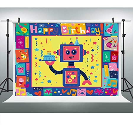 4x6ft NO-8 Robot Photography Backdrop Newspaper Background for Chidren Interesting Birthday Photo Props LHFU684