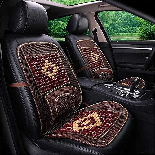 Cojines para Silla Cubierta de asiento de coche universal de verano transpirable y fácil de limpiar asiento de coche de la cubierta de asiento de coche cojín del asiento bolas de madera de masaje de c