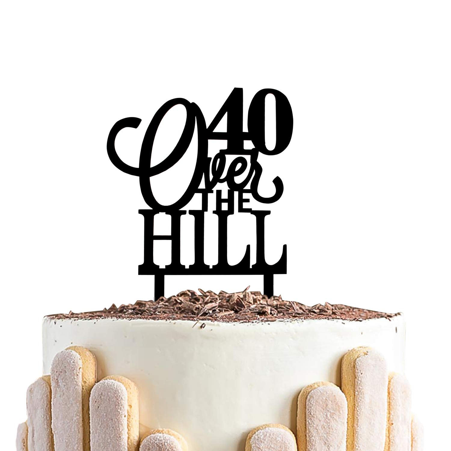Tremendous Amazon Com 40 Over The Hill Cake Topper 40Th Birthday Black Funny Birthday Cards Online Aeocydamsfinfo