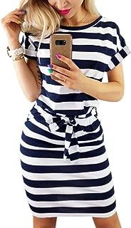 Women's Striped Elegant Short Sleeve Wear to Work Casual Pencil Dress with Belt