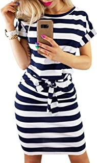 Women's Striped Elegant Short Sleeve Wear to Work Casual...
