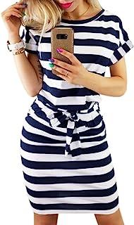 PALINDA Women's Striped Elegant Short Sleeve Wear to Work Casual Pencil Dress with Belt