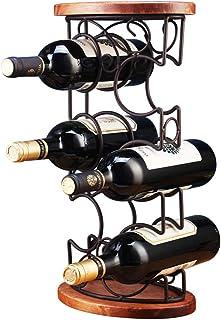 Casier à vin en fer forgé, Le support de bouteille en bois plein, présentoir de stockage stockage stockage support salon s...