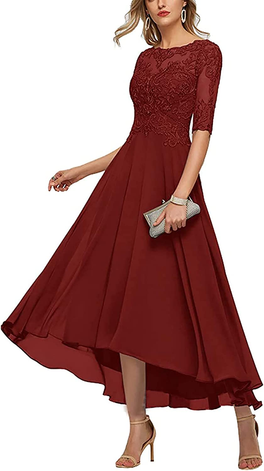 Women's High Low Lace Mother of Bride Dresses for Wedding Formal Party Gowns Illusion Back Chiffon A-Line Skirt