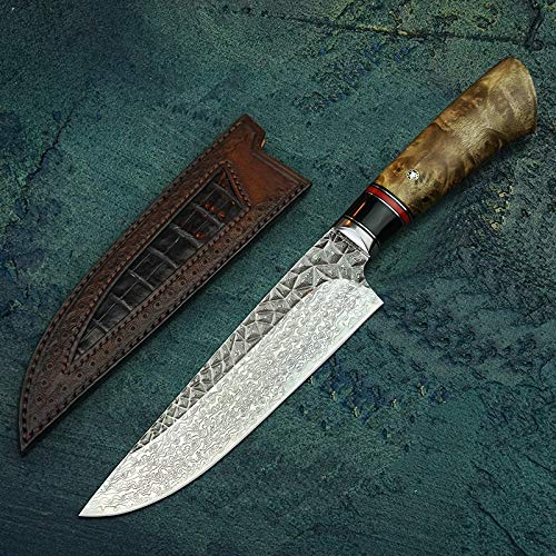Best Quality Kitchen Knives 7 inch VG10 Damascus Steel Chef's Knife Japanese Cleaver Vegetable Knives Kitchen Cooking Knife with Handmade Leather Sheath