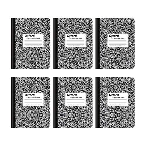 Oxford Composition Notebooks, College Ruled Paper, 9-3/4 x 7-1/2 Inches, 100 Sheets, Black, 6 Pack (63767)