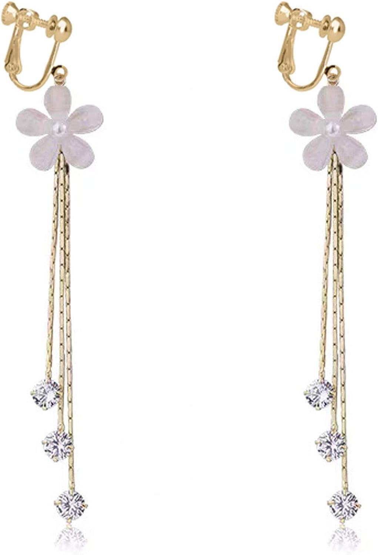 Flower Dangle Clip on Earrings No Pierced Rhinestone Crystal Tassels Screw Back for Women Girls