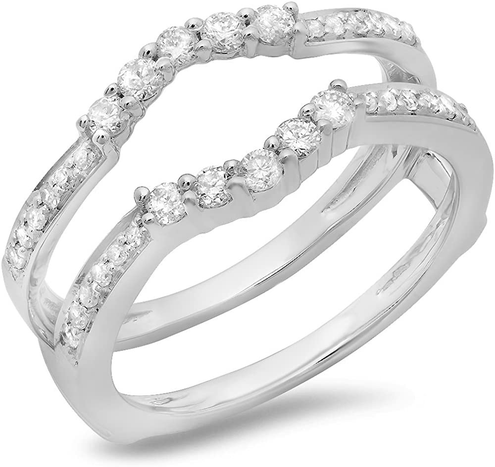 Dazzlingrock Collection 0.50 Carat (ctw) 10K Gold Round Cut Diamond Ladies Wedding 5 Stone Enhancer Guard Double Ring 1/2 CT