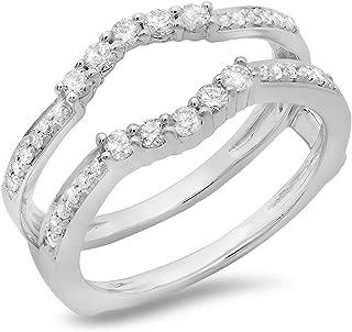 Dazzlingrock Collection 0.50 Carat (ctw) 14K Gold Round Cut Diamond Ladies Wedding 5 Stone Enhancer Guard Double Ring 1/2 CT