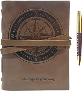 """$31 » Leather Journal Nautical Compass Notebook Embossed Maritime Sea Adventure A5 Travel Diary, For Men For Women, Genuine Vintage Rustic Leather 6"""" x 8"""", Bound For Writing Notes Handmade Sketchbook + Pen"""