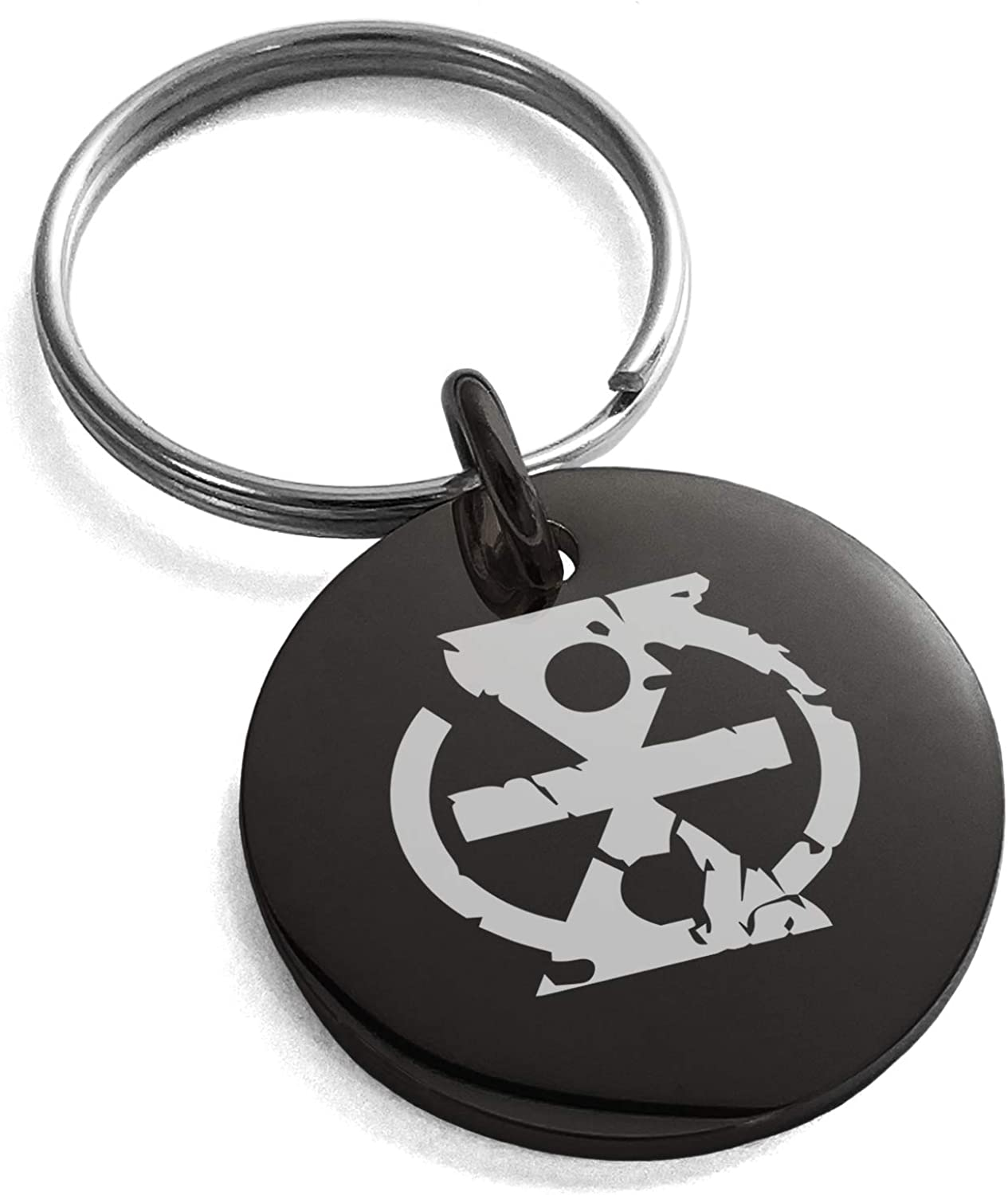 Tioneer Stainless Steel Ancient Tribal Change Rune Symbol Small Medallion Circle Charm Keychain Keyring