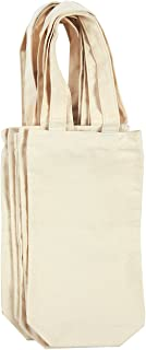 Wine Tote Bags - 6-Pack Wine Carrying Bag Set, Ideal Bottle Gift Bags, Cotton Canvas Travel Storage Bags, Picnic Wine Accessories, Off-White - 6.5 x 12.2 x 2.8 Inches
